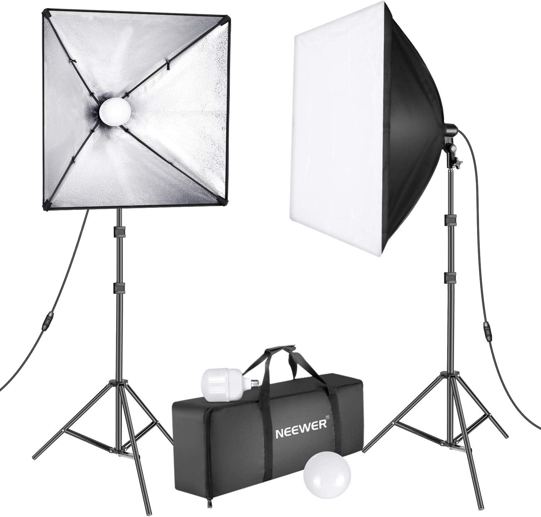 Neewer - Kit de iluminación LED para fotografía (450 W, 2 x 24 pulgadas, con casquillo E27 y 5500 K, luz instantánea, ahorro de energía y soporte para fotografía de estudio de vídeo: Amazon.es: Electrónica