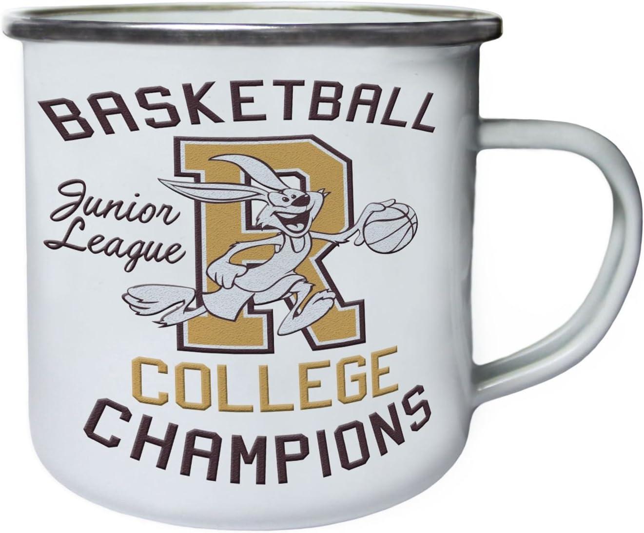 Basketball College Junior League Rabbit Mascot Retro,Tin Enamel 10oz Mug aa828e
