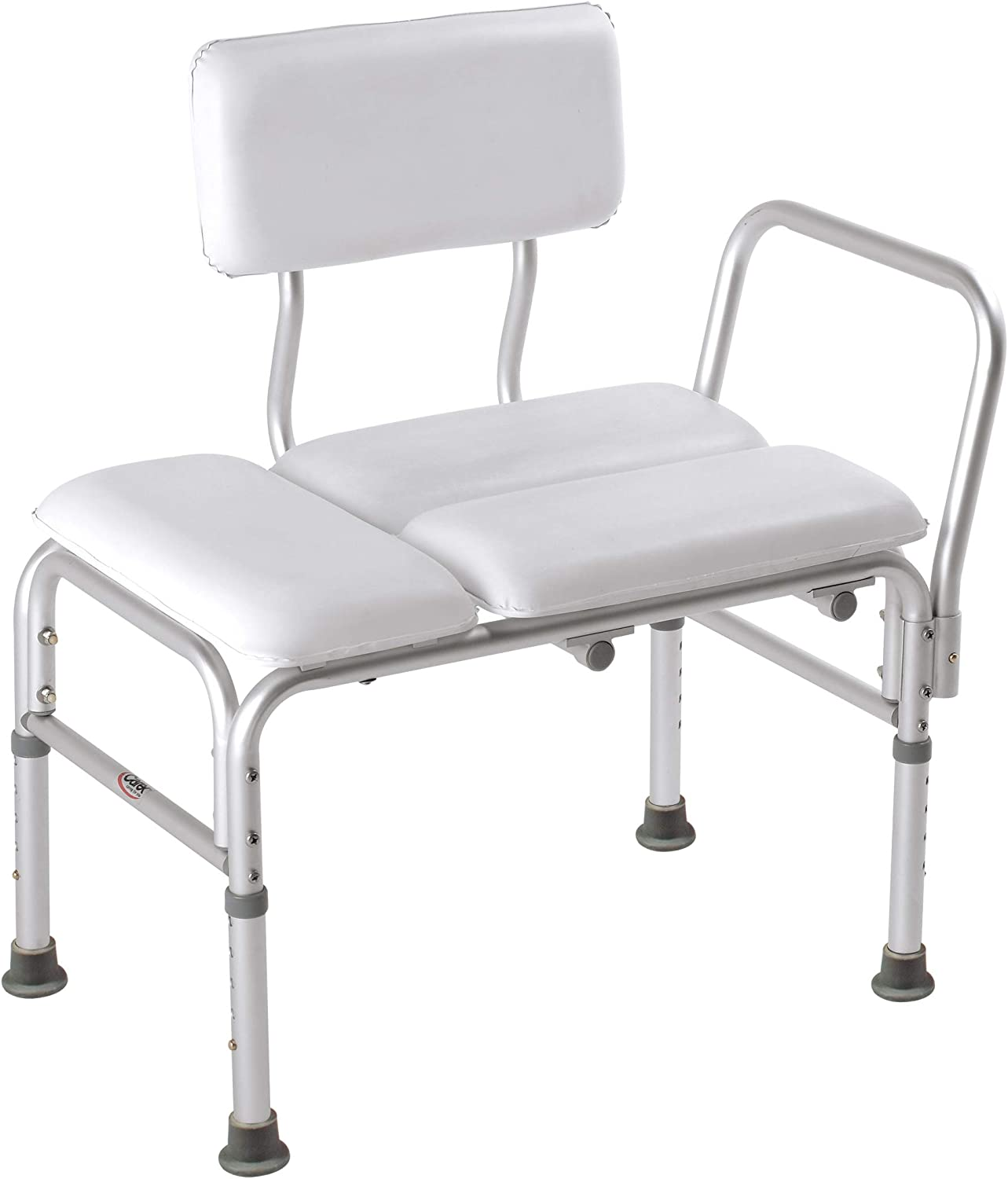 Carex Deluxe Padded Tub Transfer Bench - Shower Bench with Height Adjustable Legs - Convertible to Right or Left Hand Entry