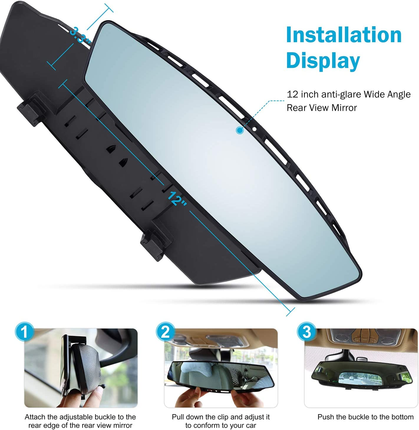 Car Rearview Mirrors Car Universal Interior Clip On Panoramic Rear View Mirror Wide Angle Rear View Mirror for Cars SUV Trucks