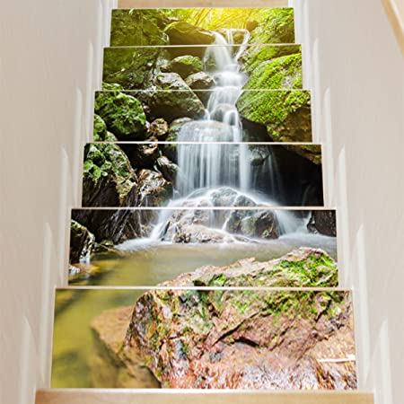 QTZS 3D Cascada Escalera Creativa Decoración del Hogar DIY Pegatinas De Pared De Renovación 6 Unids: Amazon.es: Hogar