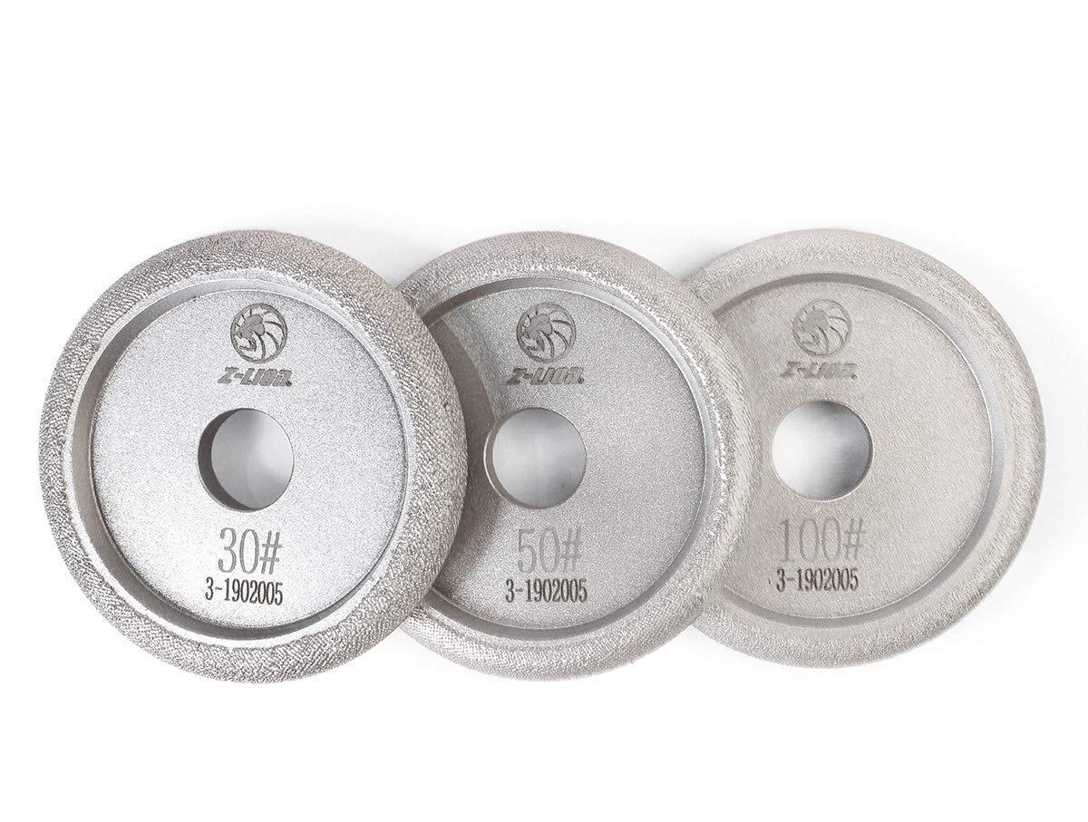 Z-LION 4'' Vacuum Brazed Diamond Profile Wheel Marble Granite Countertop Grinding Wheel 3-Pcs
