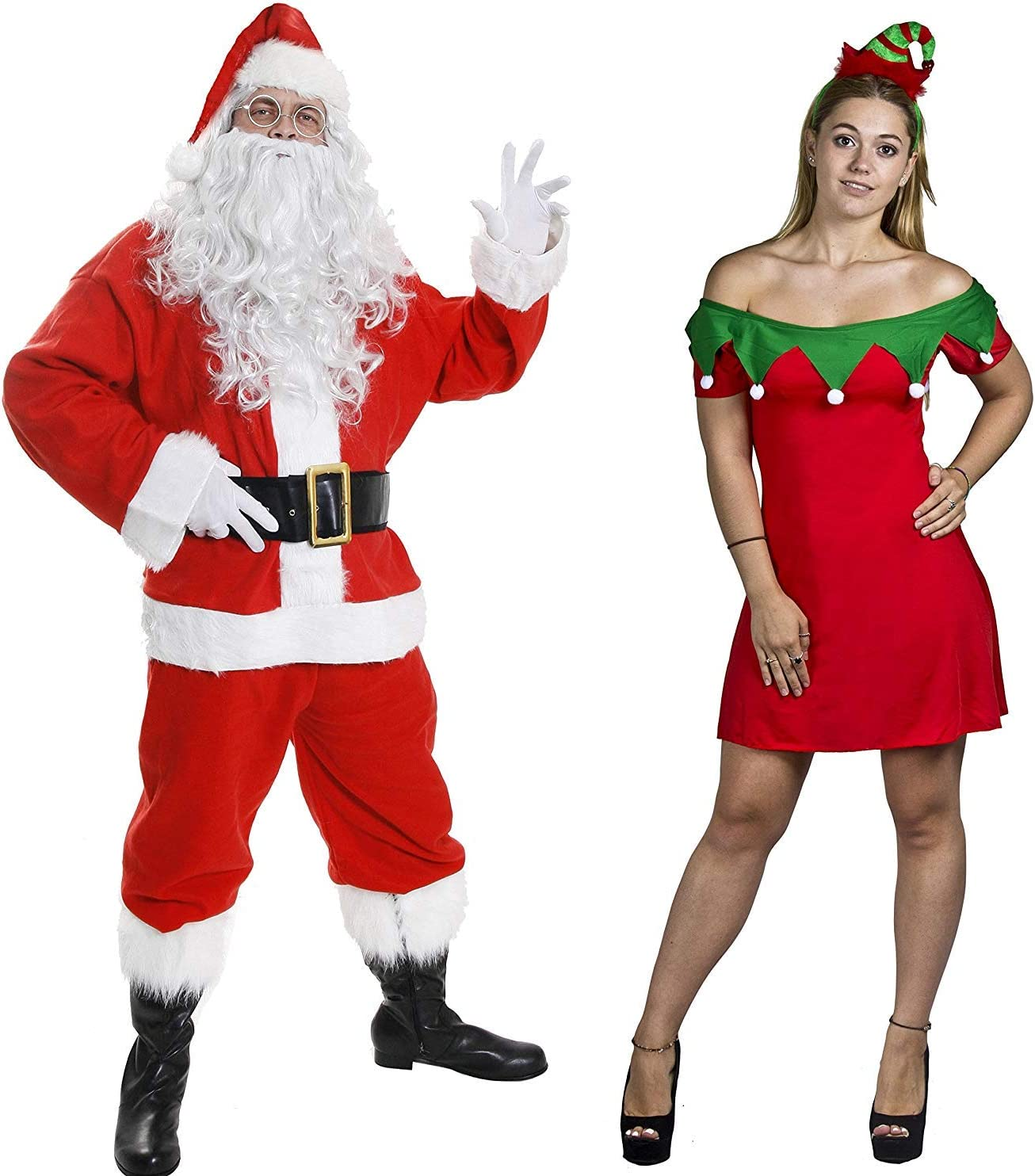 Sexy Elf and Santa Costumes Set for Adult Pair