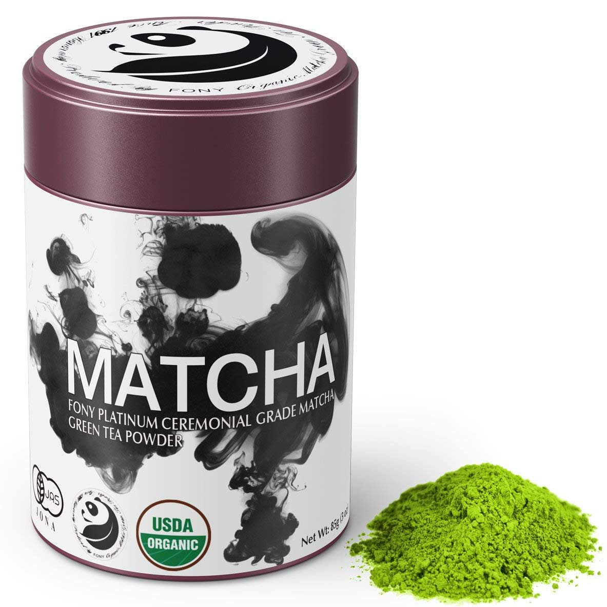 FONY 85g Japanese Matcha Green Tea Powder, USDA Organic - Authentic Ceremonial Grade (Platinum, Tin)