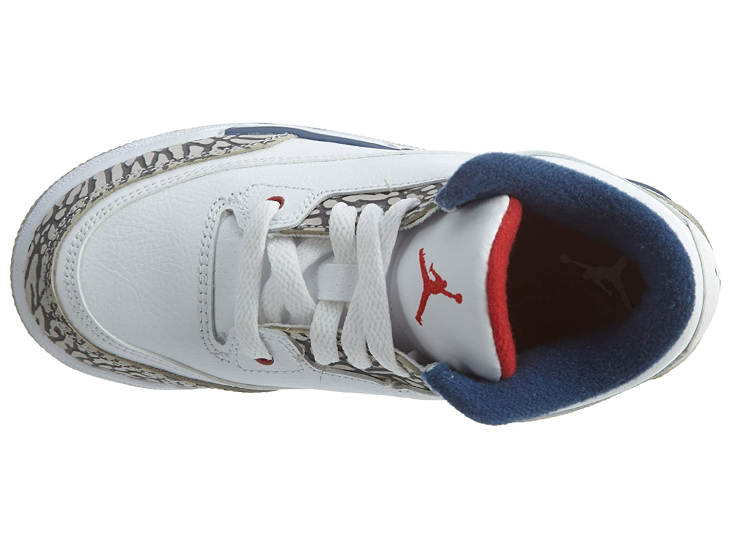 2 M US Little Kid Jordan Retro 3True Og White//Fire Red-True Blue Little Kid