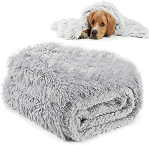 Grey Dog Bed Blanket Plush Fluffy Pet Mat Snuggle Blanket Plush Furry Faux Fur Cover Sleeping Bag Comfortable Cozy Soft Warm Washable Pet Puppy Sofa Bed Couch Furniture Throw Quilt for Dogs & Cats