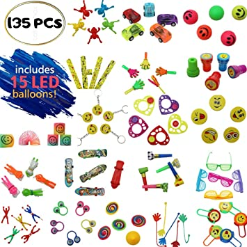 b49243571741f Little hands Deluxe 135pcs party bag fillers for kids - with 15 flashing  LED balloons. Makes five party favour bags for children, boys and girls.