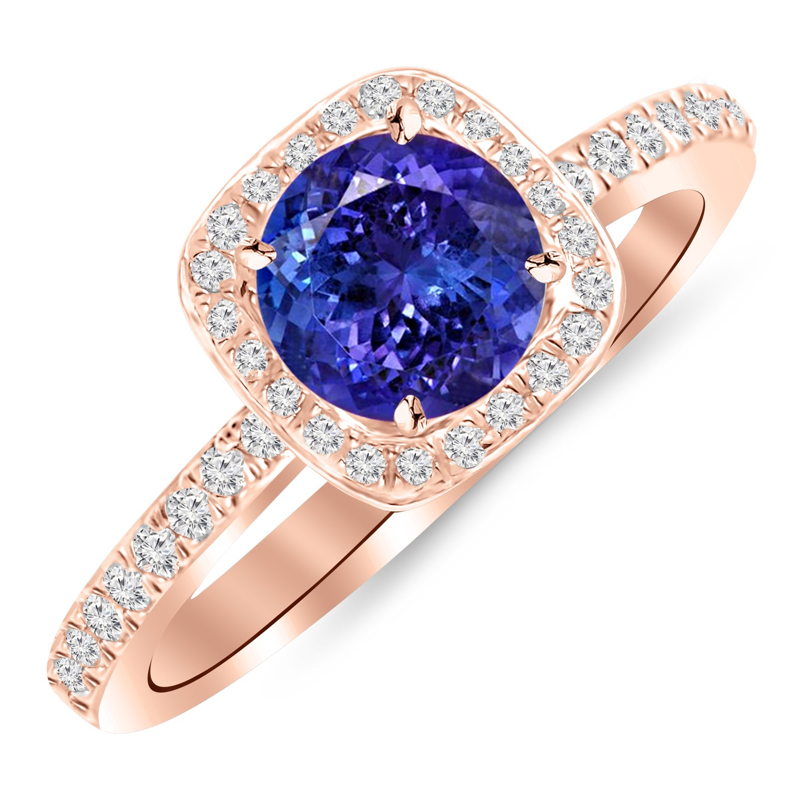 14K Rose Gold Classic Halo Style Cushion Shape Diamond Engagement Ring with a 1.5 Carat Tanzanite AAA Heirloom Center Stone by Houston Diamond District