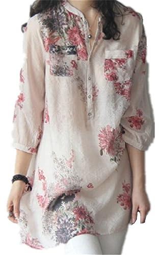Mujer Camiseta Mangas Largas Camisas V Cuello Blusa Elegante Casual Ocasionales Impresa Encaje Liger...