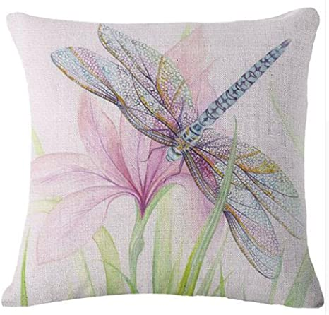 Dragonfly Painting Cotton Linen Pillow Case Throw Cushion Cover Home Decor Gift