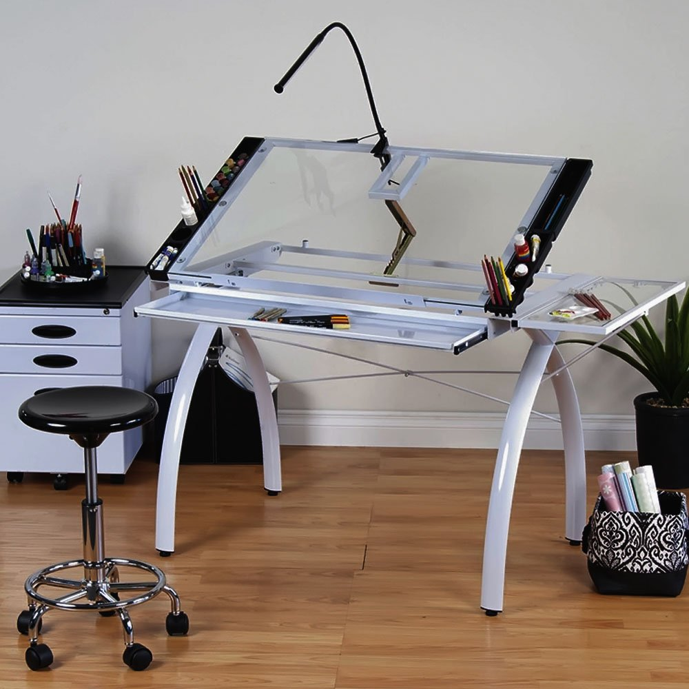 Amazon.com: Studio Designs 10096 Futura Craft Station With Folding Shelf,  White With Clear Glass: Arts, Crafts U0026 Sewing