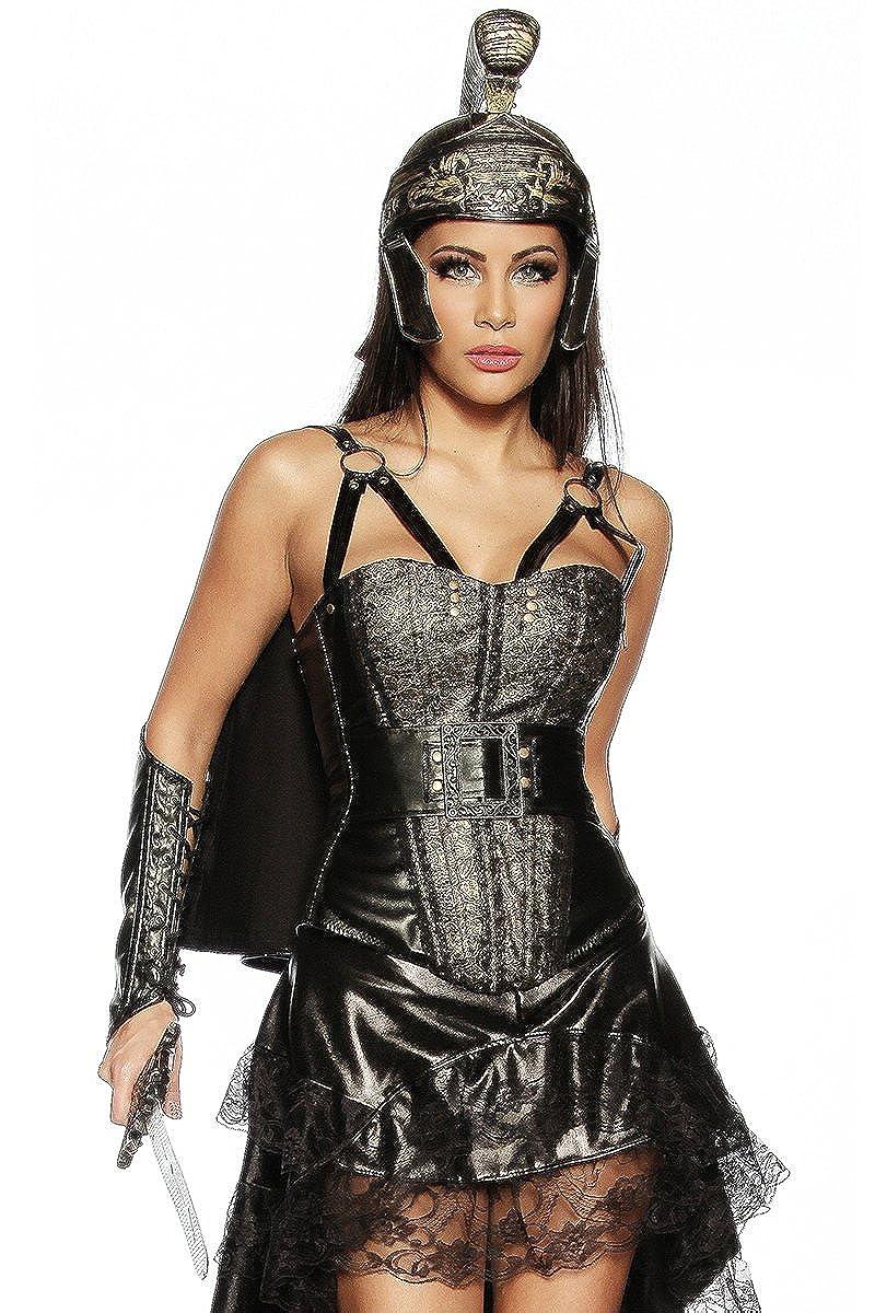 ofrecemos varias marcas famosas Dorado Y Negro Negro Negro XS Mujer mantophasmatodea Outfit con Piel sintética Corpiño Capa Casco y Mangas en Negro oro  saludable