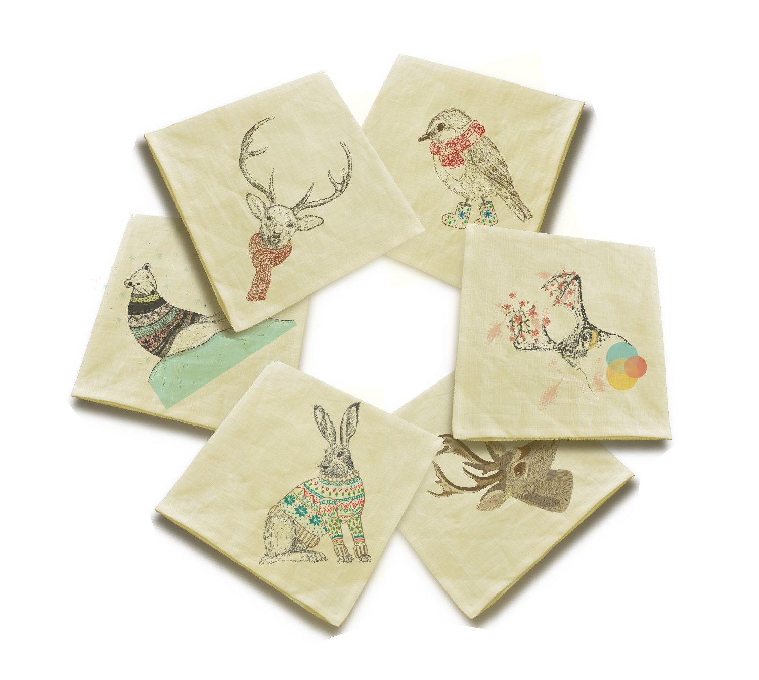 Animals in sweater 1 Printed Cotton Linen Craft Dinner Napkins VHN_01 Lot of 6