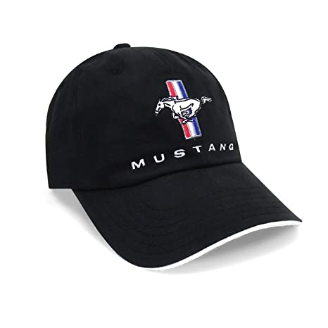 a310cea5b2494 Image Unavailable. Image not available for. Color  Ford Mustang Tri-Bar  Logo Sandwich Bill Black Baseball Cap