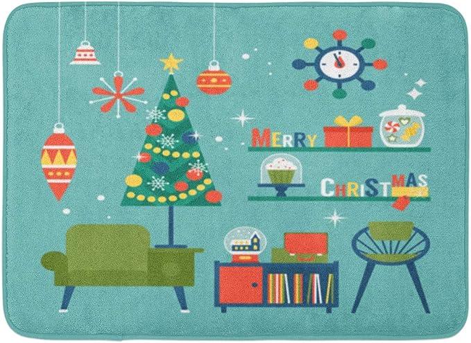 Christmas Pattern Door Mat Bathroom Non-slip Mat Christmas Exclusive US
