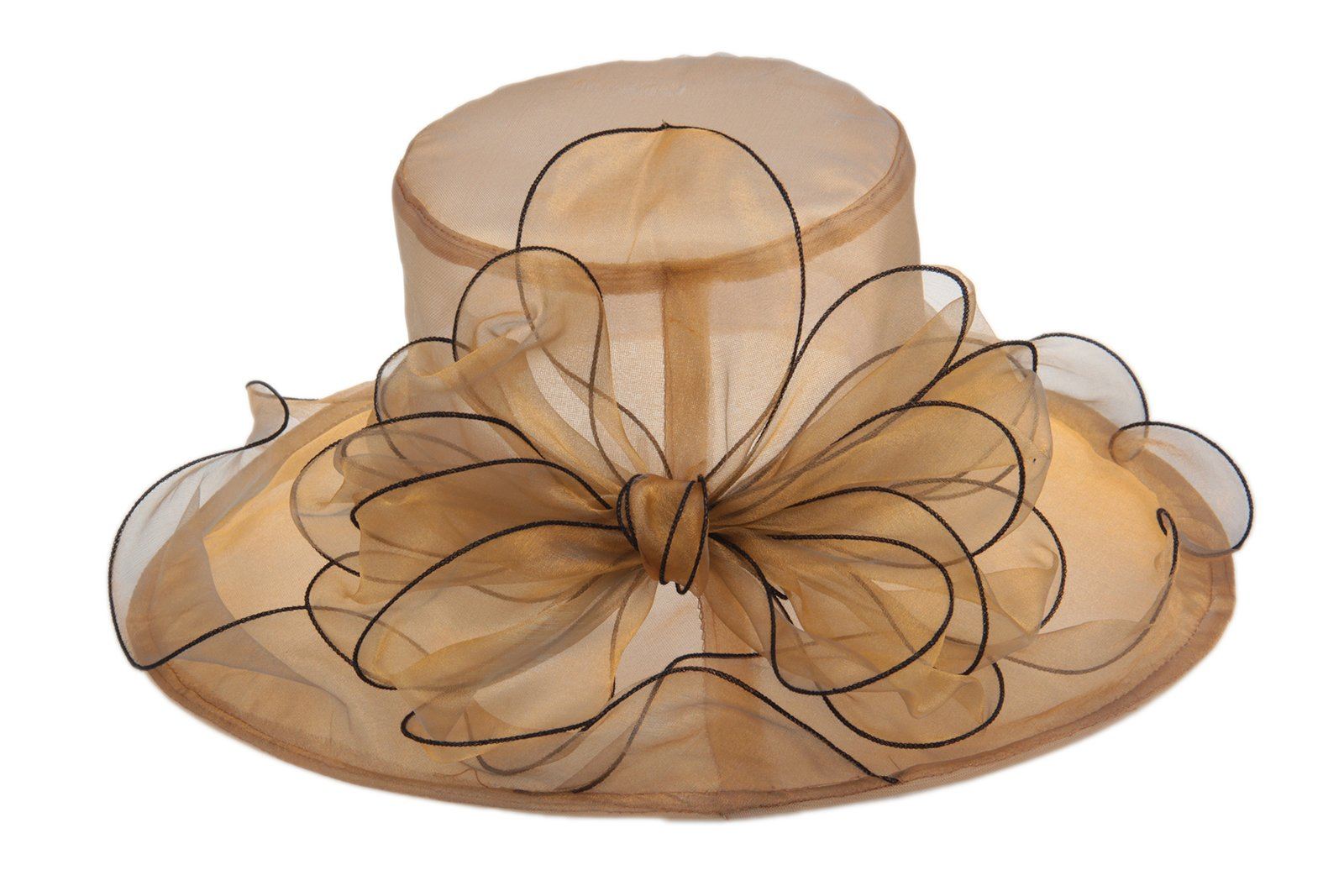 Dantiya Women's Organza Church Kentucky Derby Big Bowknot Fascinator Bridal Cap British (Gold) by Dantiya (Image #2)