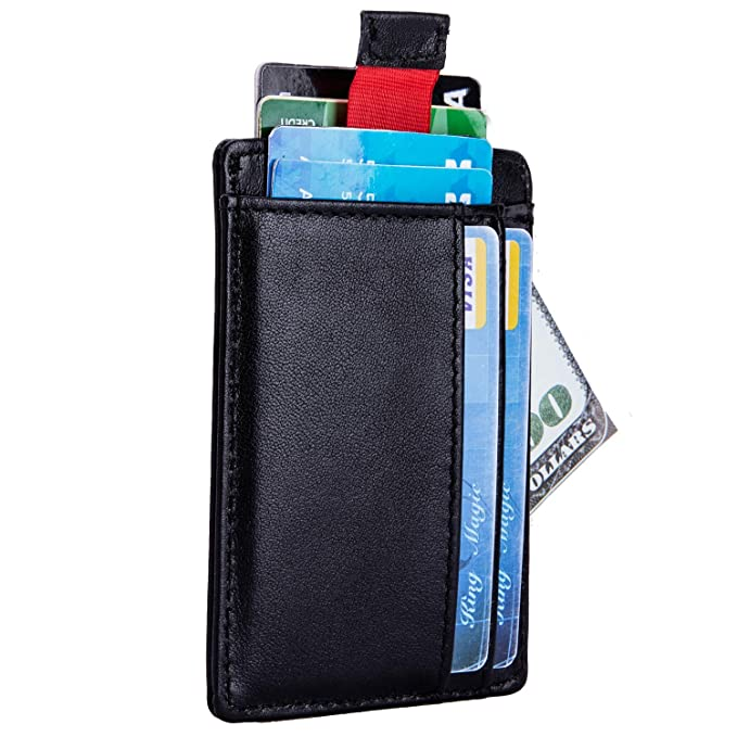 c8d3608a7db3 RFID Leather Front Pocket Wallet Minimalist Slim Pull Tab Card Case with  Cash Strap by DONWORD