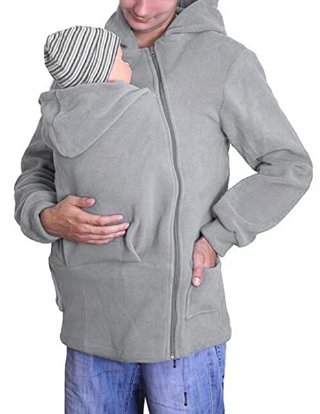 YCHENG Moda Abrigo papá Portador de Bebé de Canguro Chaqueta ...