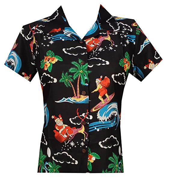 66a481cd Image Unavailable. Image not available for. Color: Hawaiian Shirt Women  Flamingo Leaf Print Aloha Beach Blouse ...