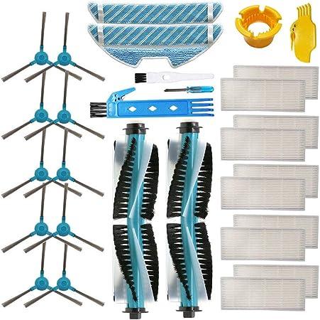 BSDY YQWRFEWYT Kit de Accesorios para Cecotec Conga 1290 Cecotec Conga 1390 Robot Aspiradora Piezas de Repuesto Paquete de 2 Cepillo Principal, 10 filtros Hepa, 10 cepillos Laterales, 2 trapeadores: Amazon.es: Hogar