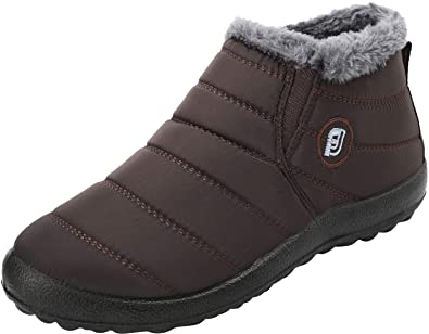 92e4ab442d16 JOINFREE Winter Short Snow Boots Women Warm Slip-on Walking Shoes Fur Lined  Brown