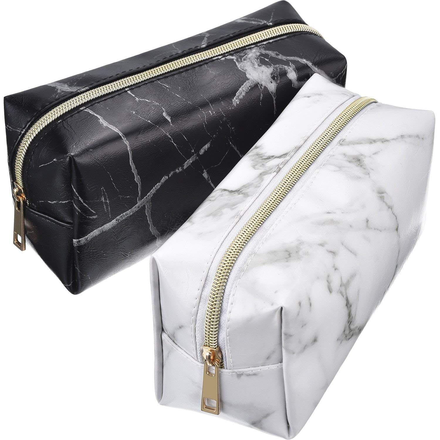CASTEL 2 Pieces Cosmetic Toiletry Makeup Bag Pouch Gold Zipper Storage Bag Marble Pattern Portable Makeup Brushes Bag (S, White and Black)