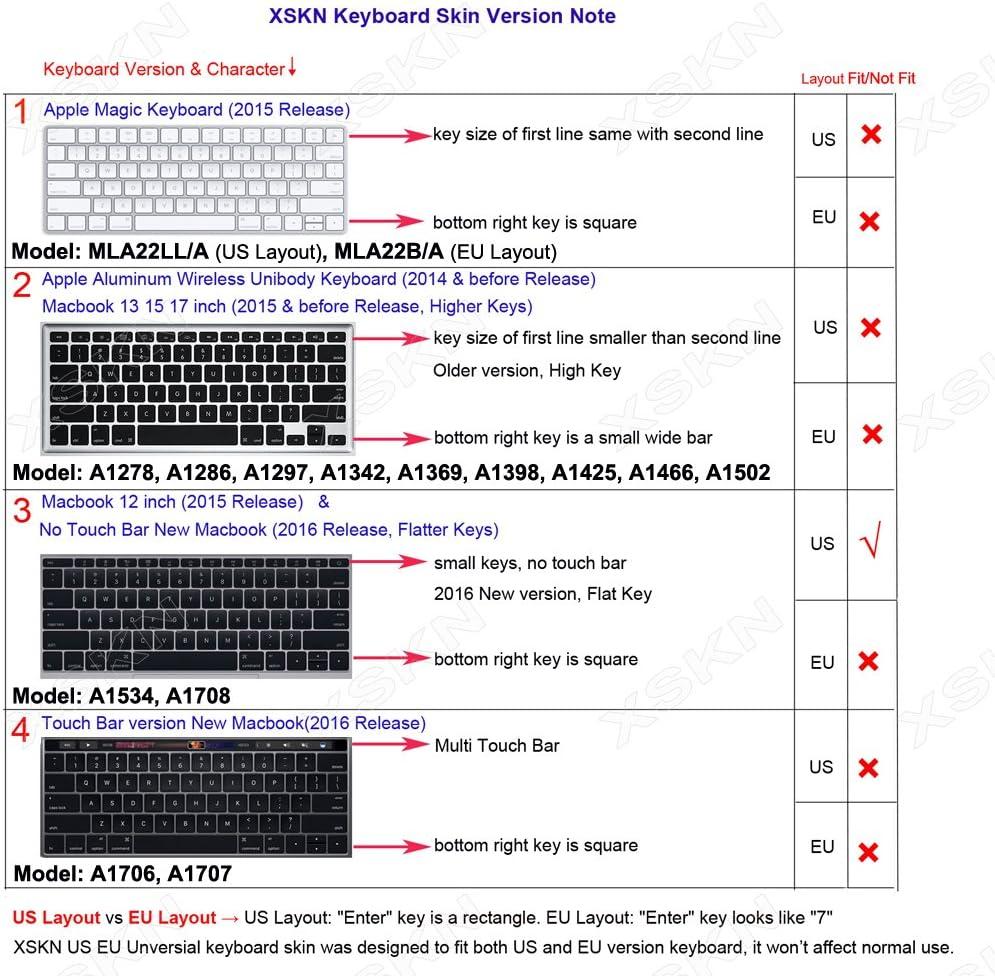 MacBook f/ür 30,5/cm US-Version Silikon 12 Zoll XSKN Tastatur-Folie//Bezug mit arabischen Schriftzeichen