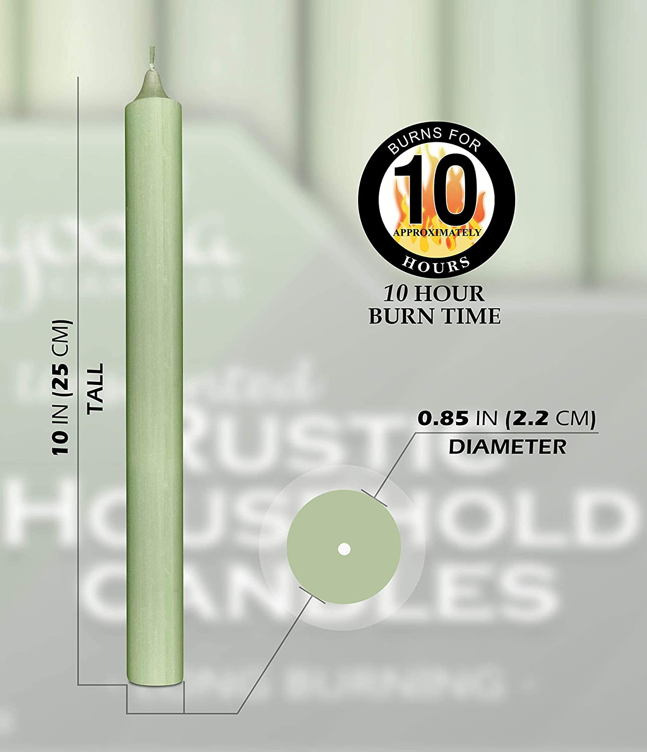 Long Burning Candle Sticks 12 Pack Unscented Rustic Candles Light Green Tall Candles Hyoola 10 Inch Dinner Candles