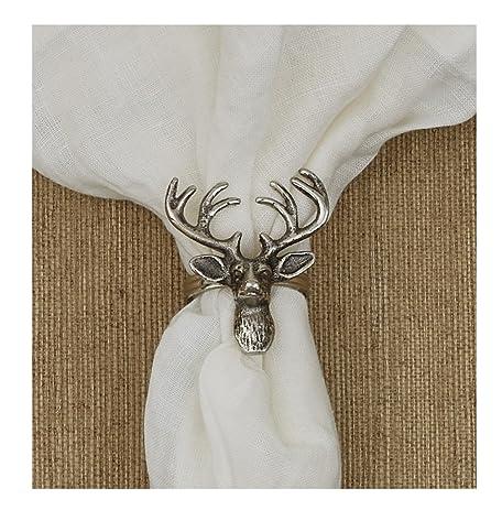 Dasher Deer Napkin Rings   Silver   Set Of 6