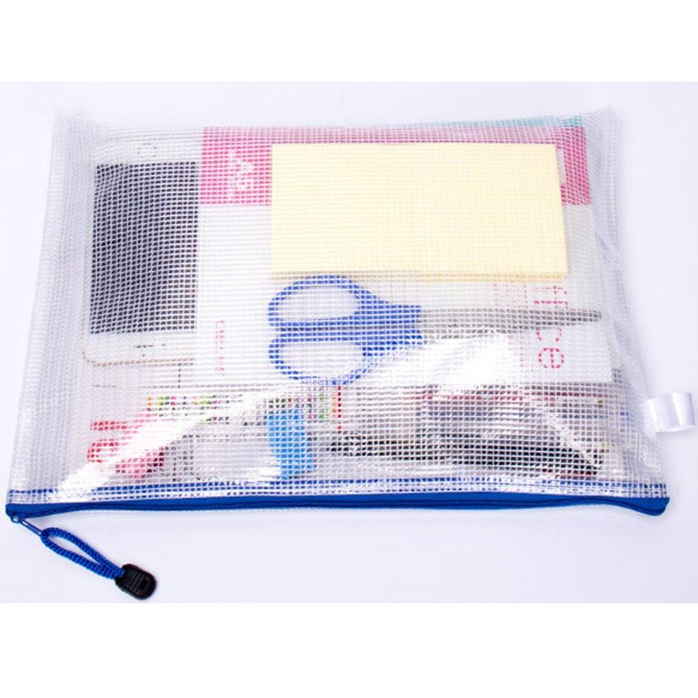 6 Pezzi TOYMYTOY 6 Pezzi Sacchetto di zip file bag formato A4 plastica sacchetti impermeabile stoccaggio per documenti mesh file di Pouch Storage zipper borse