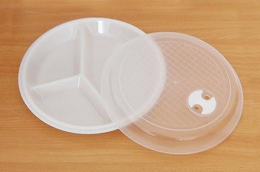 Calentar en el microondas platos con 3-bandejas de comida de la ...