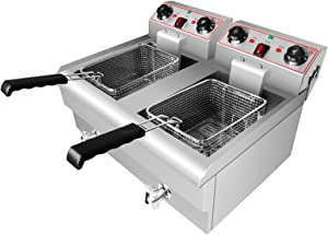 LJXiioo Commercial Home Restaurant Stainless Electric Fryer, Deep Fat Fryers with Faucet and Large Handle for Home Use Easy Clean, Suit for Food Cooking & French Fries (23.6L/3000W)