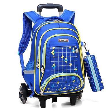 a01f94df0f YUB Children  s Drawbars Bag Trolley Backpack School Bag with Wheels  Rolling Backpacks (Blue