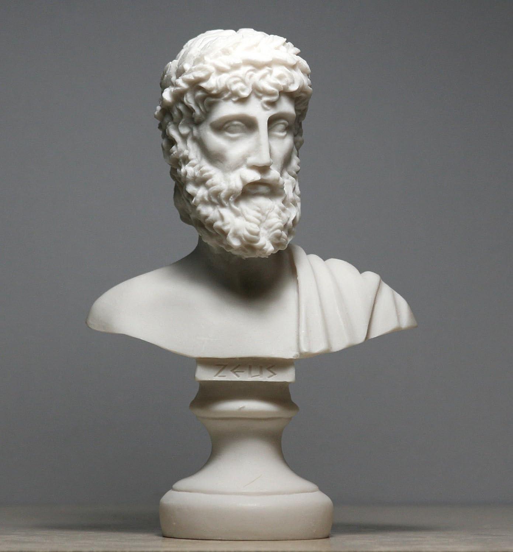 Zeus padre King of Gods alabastro busto testa statua scultura figura Decor 16cm