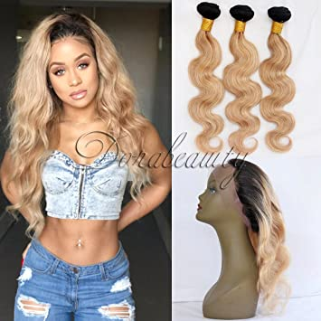 Useful Ombre Bundles With Frontal Honey Peruvian Blonde Bundles With Closure 13*4 Remy Straight Hair Bundles With Frontal Free Shipping Cheap Sales Hair Extensions & Wigs Human Hair Weaves