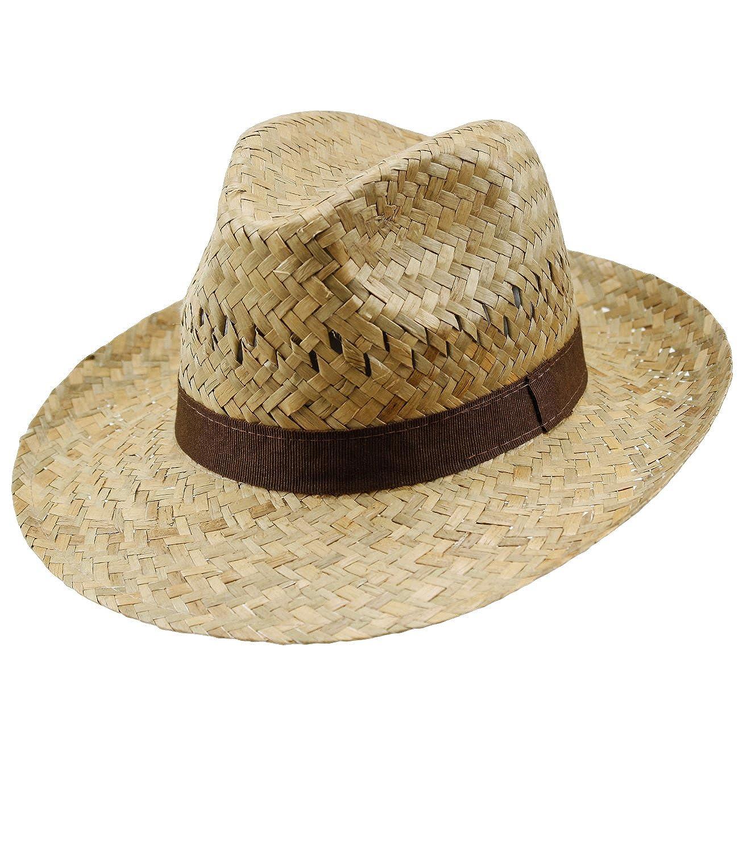 Incl Hutfibel FI-16432-S16-HE0 EveryHead Fiebig Sombrero De Paja Los Hombres Verano Playa Vacaciones Equin/ácea Gorro Fiesta Unisex con Marr/ón Banda Acanalada para