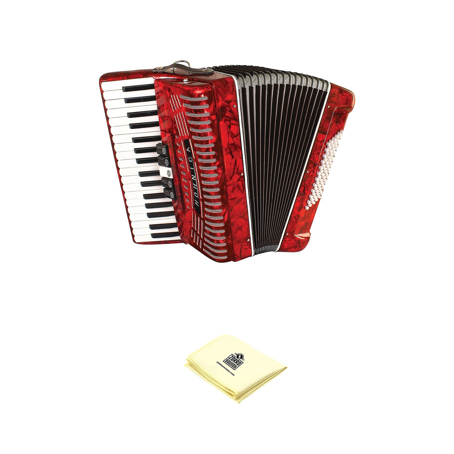 Hohner Accordion 1305-RED 97 Key 72 Bass Style Keyboard Piano Accordion in Red Bundle with Zorro Sounds Piano Accordion Cloth by Hohner Accordions