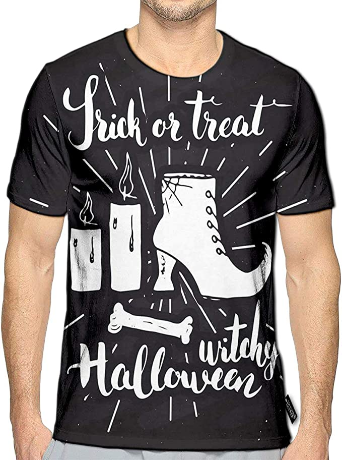 3D Printed T-Shirts Halloween Vintage Sketch Witch Items Short Sleeve Tops Tees