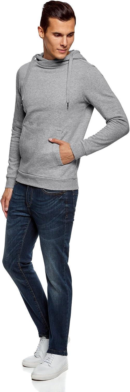 oodji Ultra Hombre Sudadera B/ásica con Bolsillo