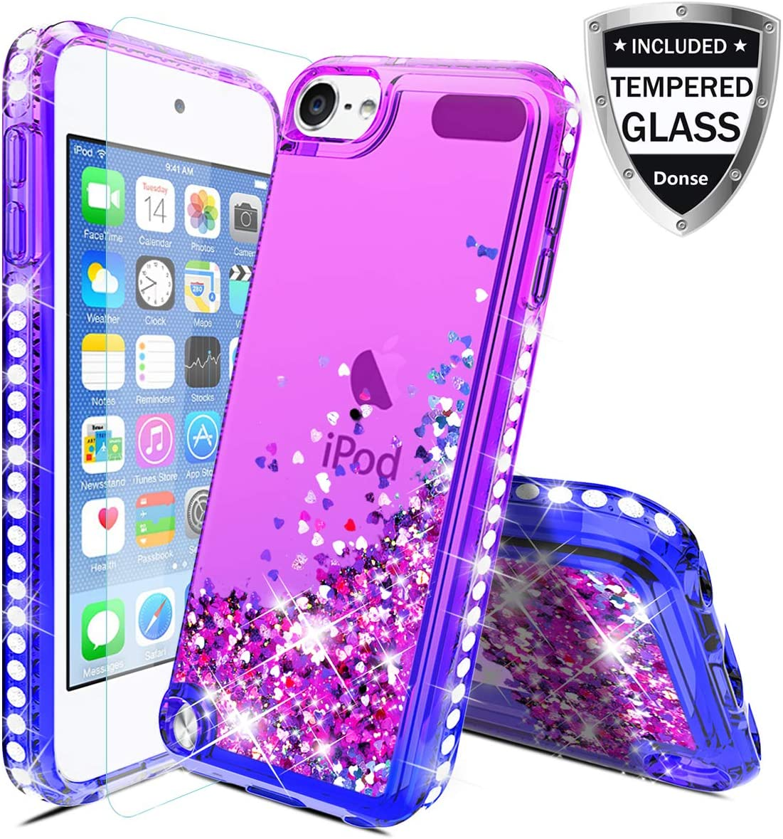 For Apple iPod Touch 7/5/6,iPod 7th/5th/6th/Generation Case W/Glass Screen Protector,Donse Glitter Liquid Quicksand Floating Shiny Sparkle Flowing Bling Diamond Luxury Case for Girls Women,Purple/Blue