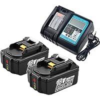 2x BL1850B accu 18V 5,0Ah met oplader DC18RC reservebatterijen voor Makita BL1830 BL1840 BL1850, Makita DUC353Z DUC302Z…