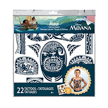 Amazon.com: Disney Moana Maui Tattoos - 22 Assorted Temporary ...