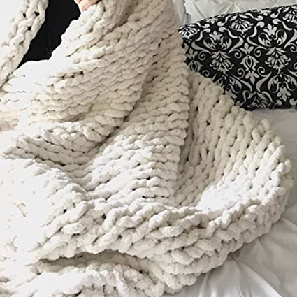 Amazon Arm Knitted Chunky Blanket Whitechunky Knit Blanket