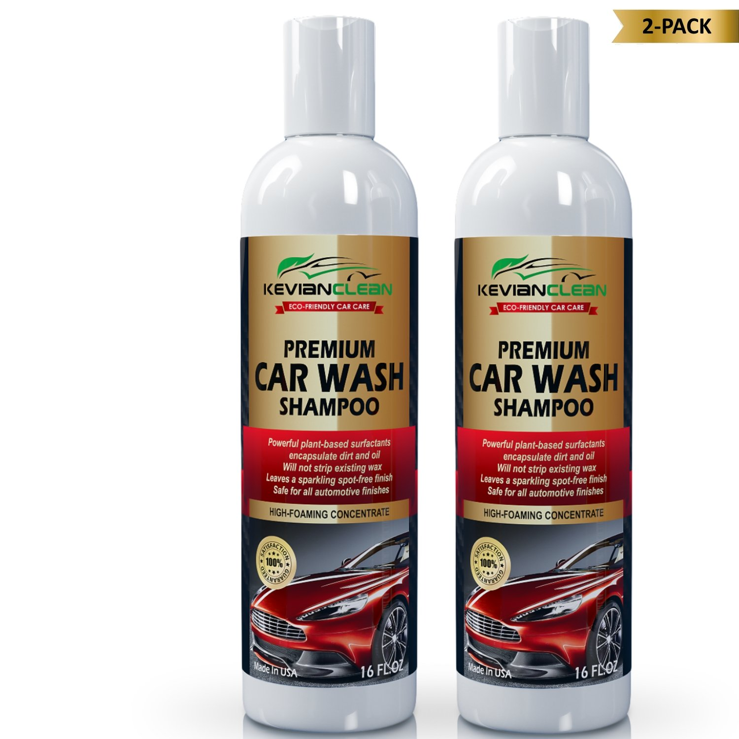 KevianClean Car Wash Shampoo Concentrate - Cleans Tough Dirt and Grime for an Ultimate Deep Reflective Shine & Spot Free Finish, Best Auto Detailing Soap for All Automotive Finishes - 16 oz. (2)