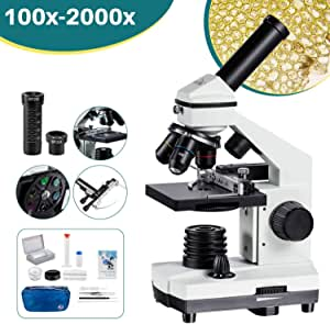2000x Microscope Moving Ruler Compound Microscope for Students and Kids LED Phone Adapter Prepared & Blank Slides Microscope Accessories
