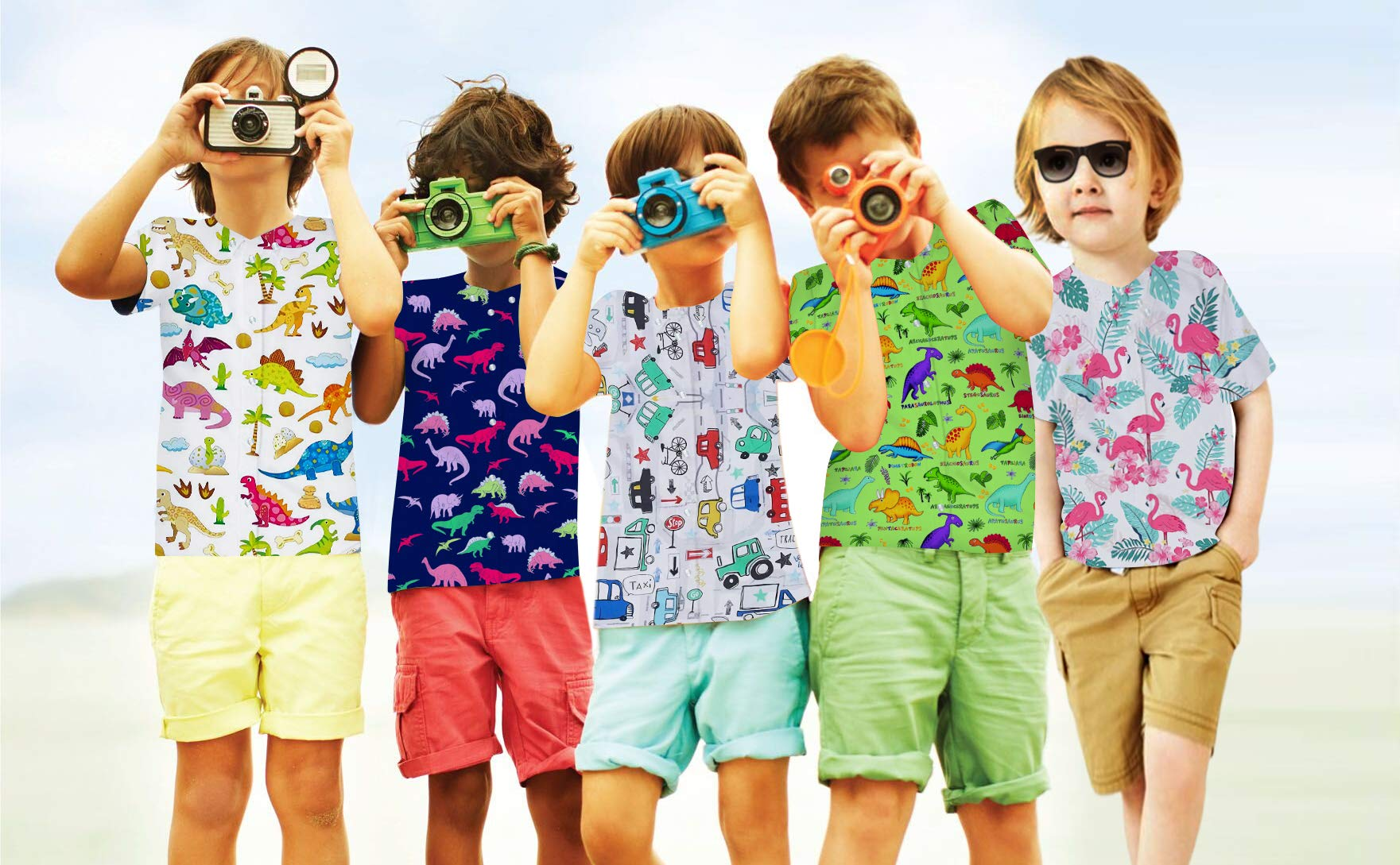 Goodstoworld Boys Button Down Shirts Kids Casual Short Sleeve Cotton Button Up Cool Dinosaur Print Tees Tops Blouse 5-6T by Goodstoworld (Image #4)