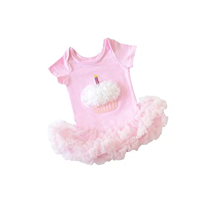 Scarlett Gene Light Pink Baby Girl First Birthday Tutu Outfit Short Sleeve Ruffle Cupcake Dress Babys