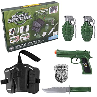 Police Accessory Role Play Set for Kids with Adjustable Holster Belt Toy Pistol Gun Green: Clothing
