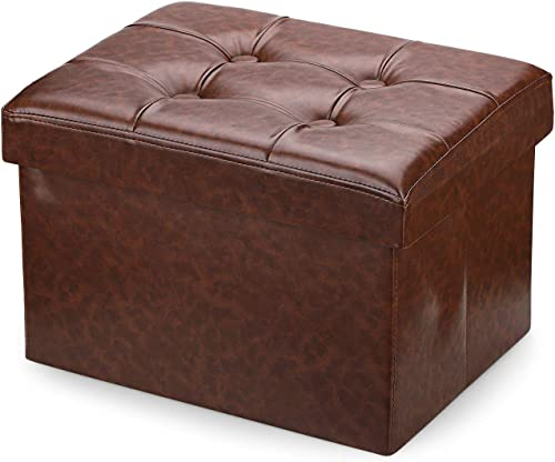 Bileeda Small and Short Foot Rest Stool Leather Ottoman Storage Stool Sofa Seat Coffee Table Brown