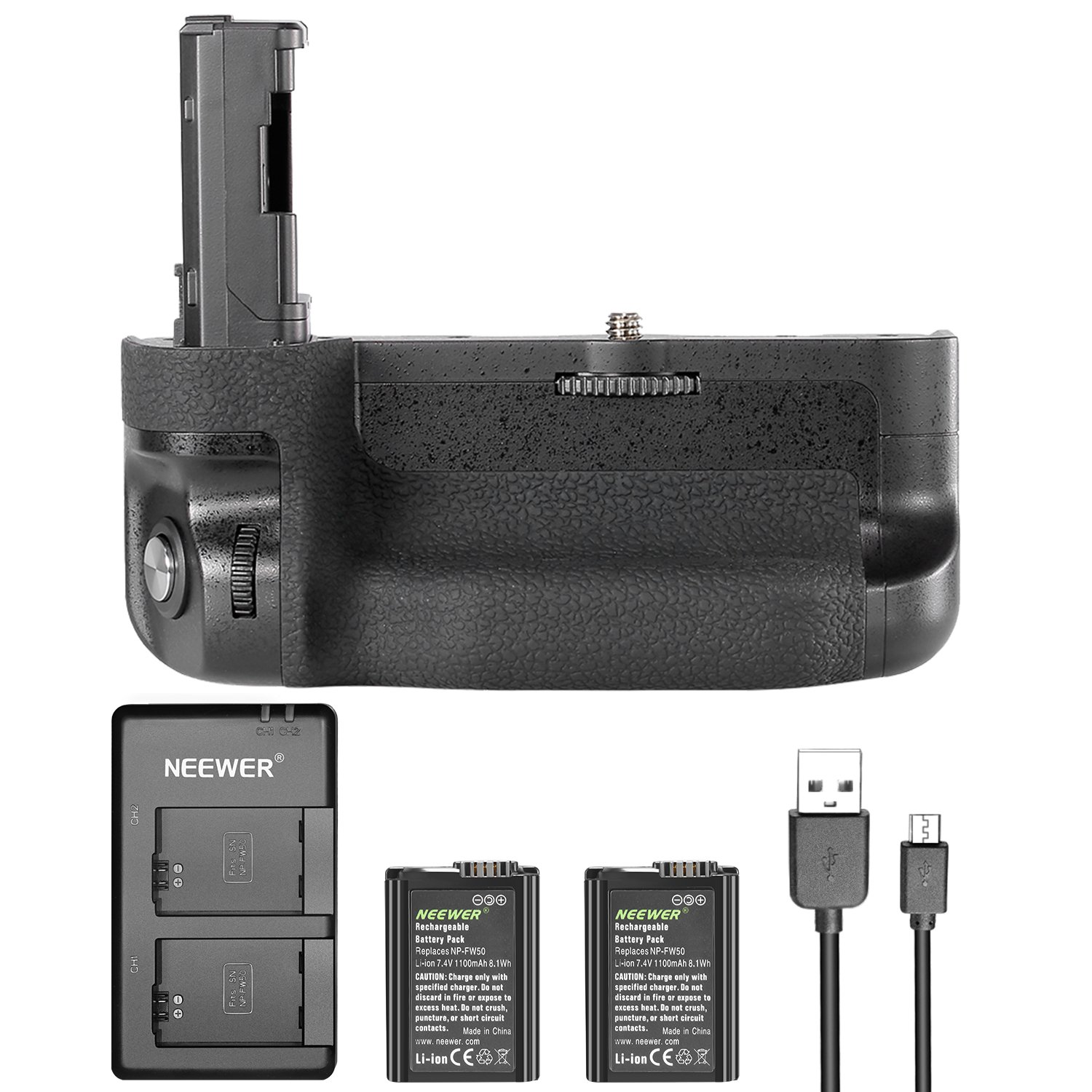 Neewer Vertical Battery Grip Kit for Sony A7 II A7R II, Includes VG-C2EM Replacement Battery Grip(Without Remote Control), 2 Pieces 1100mAh FW50 Replacement Li-ion Batteries and Dual Charger 90089824@@##1